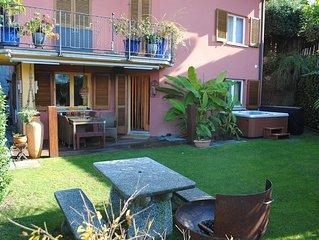 2 1/2 Gartenwohnung mit Seesicht und Whirlpool in Vairano / San Nazzaro