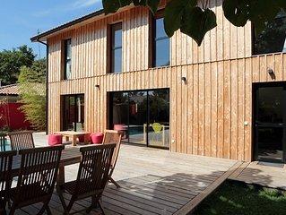 Villa Bois moderne Bassin Arcachon, Piscine, au calme , 5Ch, 3sdb, 2wc sép