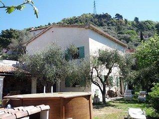 Pres de Nice, bel appartement mansarde dans villa en pleine nature