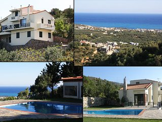 Crete-Lassithi- Seaside village Milatos villa up to 15  people, swimming pool