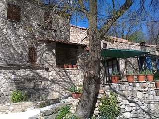 Traditional stone house with fabulous mountain views in small peaceful hamlet. S