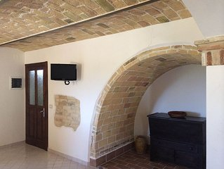 Napoleonic stone farmhouse ideal for pets and kids with wide green fenced area