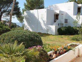 Cala Vedella schone grosse Wohnung mit Meerblick und Terrasse mit Sonnenuntergang
