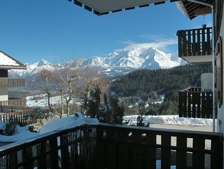 Flat for 2 adults and 2 children, view on Mont-Bl