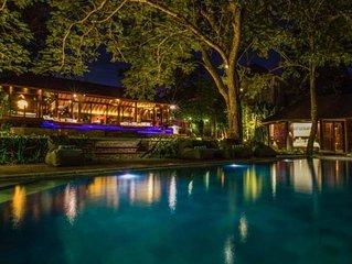 Canggu Villa 3 BR 5 lits, jardin tropical 1350m2, piscine, vue rizieres