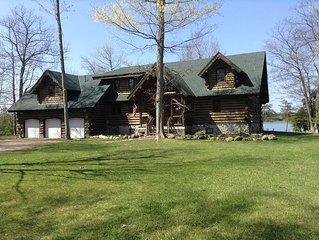Amish Built Custom Design Full Log Home on Lake Nowland