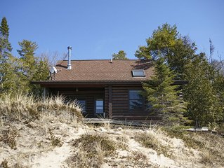 Secluded Lake Michigan Beachfront Cabin on Cathead Bay Surrounded by State Park