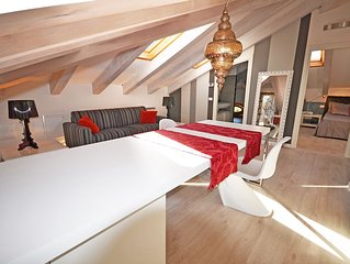 Attic apartment located in historical building.