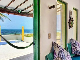 beachfront house with caribbean sea to your doorstep in Puerto Morelos