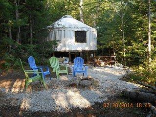 Lakes Region Yurts, BEST hot/cold outdoor shower... Near Lake Winnipesaukee