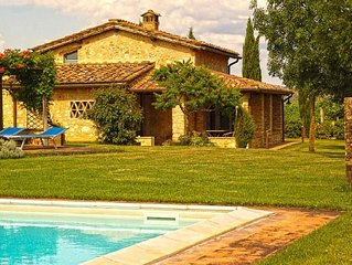 A Villa With a View of Monteriggioni and a Private Swimming Pool