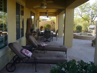 Gorgeous desert/golf course views in a well established comfortable home.