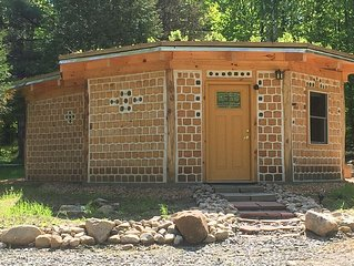 Unique Cordwood experience with bottle logs, living roof and compost toilet