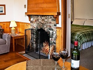 Wood burning fireplace with firewood supplied. Wine glasses supplied too!