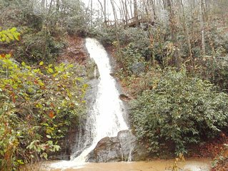 Small Cabin with 100'  Private Waterfall  on 24 Acres