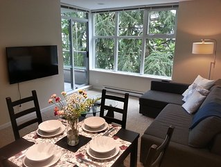 Great view! Modern, quiet, bright 2BD + den condo with gym * SFU