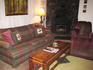 Cute One Bedroom, Fantastic Log Bed, Flat Screen TV and Large Porch!
