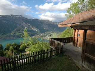 Detached chalet, uniquely located above Lake Brienz, breathtaking views
