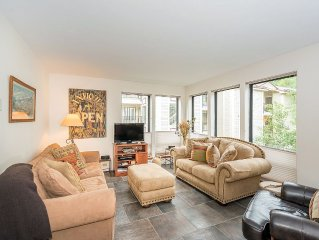 Condo with great ski access, hot tub and heated garage.