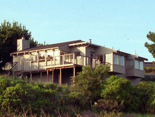 Cozy ocean view home- deck, wind protected hot tub, kitchen, fireplace