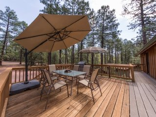 Pine- Charming cabin in Pine w/ forest view! Outdoor fire pit, games, and views!