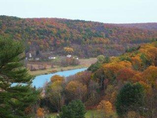 Private, river views, hot tub, sleeps 10, 20 min to Bethel NY Art Center