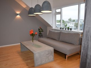 Downtown New Luxury Apartment Close To The Harbor for up to 6 persons.