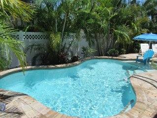 Quiet 3BDR Beach Bungalow, Walk to Beach, Private Pool
