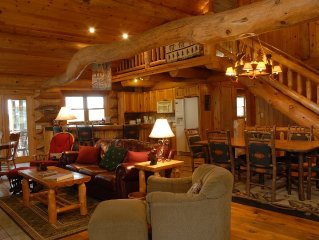 Big, Beautiful hand crafted log lodge on the lake. Great deals for spring stay.