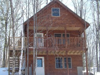 Cozy, New Cedar Log Cabin. Minutes from Norway Lake public beach and launch