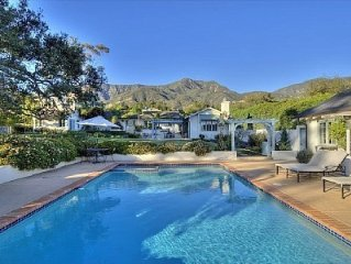 Gated Montecito Home with Pool, Tennis Court & Guest House
