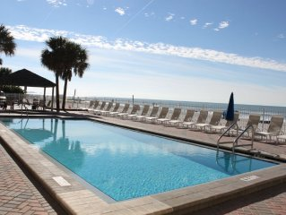 Beachfront 3BR/2BA Condo w/heated pool, hot-tub and amazing views of the Gulf.