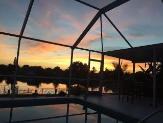 Southwest Exposer with pool and large open canel, beautiful home.