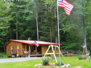 Adirondack cabin with river/mountain view, king bed, wifi, rocking porch.......