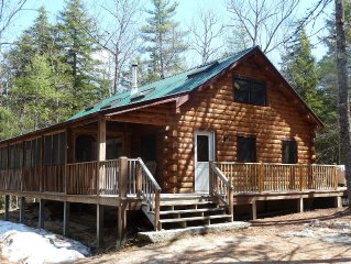 Secluded Log Home in Natural Private Forest with Waterfront and Beach, sleeps 8
