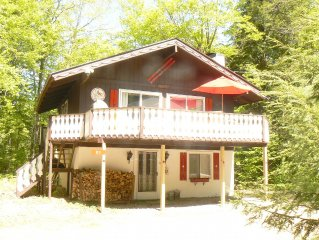 Sunny, updated chalet: 1/3 mile to Storyland,  outdoor/indoor pool, A/C