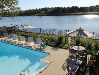 Private Tranquil Waterfront Home with Pool, Dock,Kayaks & 4 Beach Badges.