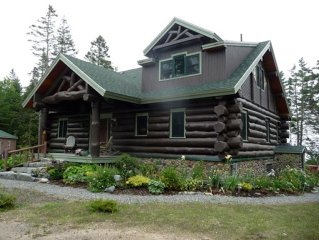 A Real Log Home! Great ocean view deck!!!