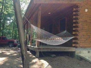 New Log Cabin On 3 Wooded Acres, Outdoor Shower, Lake Michigan,  Air-Conditioned