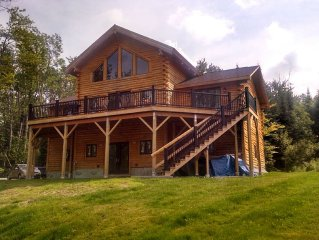New Contemporary Log Home Tucked Away Yet Convenient to I 93 With Fantastic View