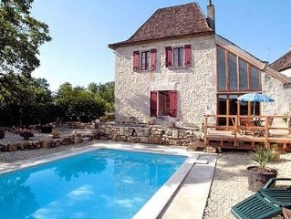 Charming restored farmhouse with pool on edge of pretty, quiet village