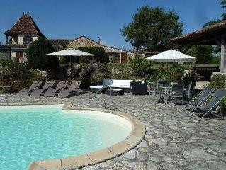 Secluded Perigordine Farmhouse In Monbazillac, Near Bergerac. Large Heated Pool.