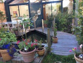 Maison de charme, calme , jardin japonais, a 10 min de la mer en velo