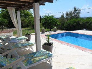 Quiet, spacious 3 bedroom villa with private  pool and views just off village