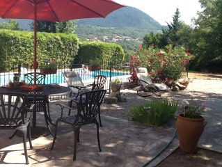 Secluded villa, large garden and pool with panoramic mountain views.