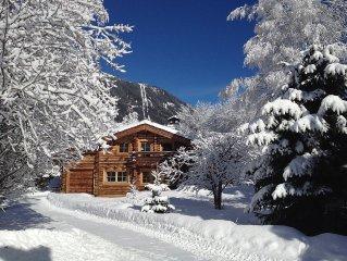 Chalet magnifique en rondins /6-7 pers / belle terrasse/ 4 chambres / Plein sud