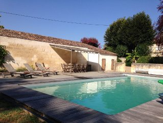 A family friendly house with heated pool in the heart of Bordeaux wine country