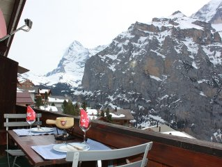 In ski/hiking resort of Murren - spacious, cosy, balcony with awesome Eiger view