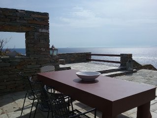 Casa Bianca of Kea Luxuary Waterfront Villa with an amazing view