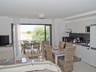 T4 sea view 80 m2, air conditioned, terrace garden of 77 m2, beach 500 meters